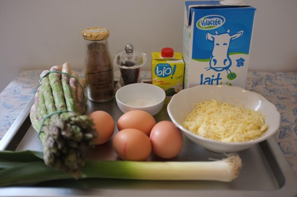 ingrédients pour la tarte sans gluten aux asperges et aux poireaux