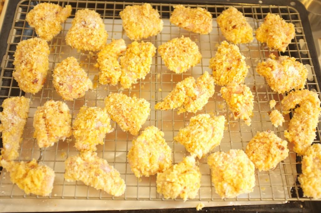 les nuggets sans gluten avant d'être enfourné...