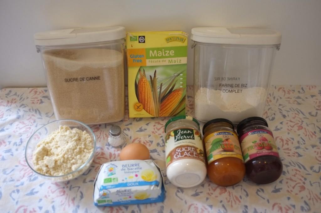 Ingrédients pour les biscuits Linzers