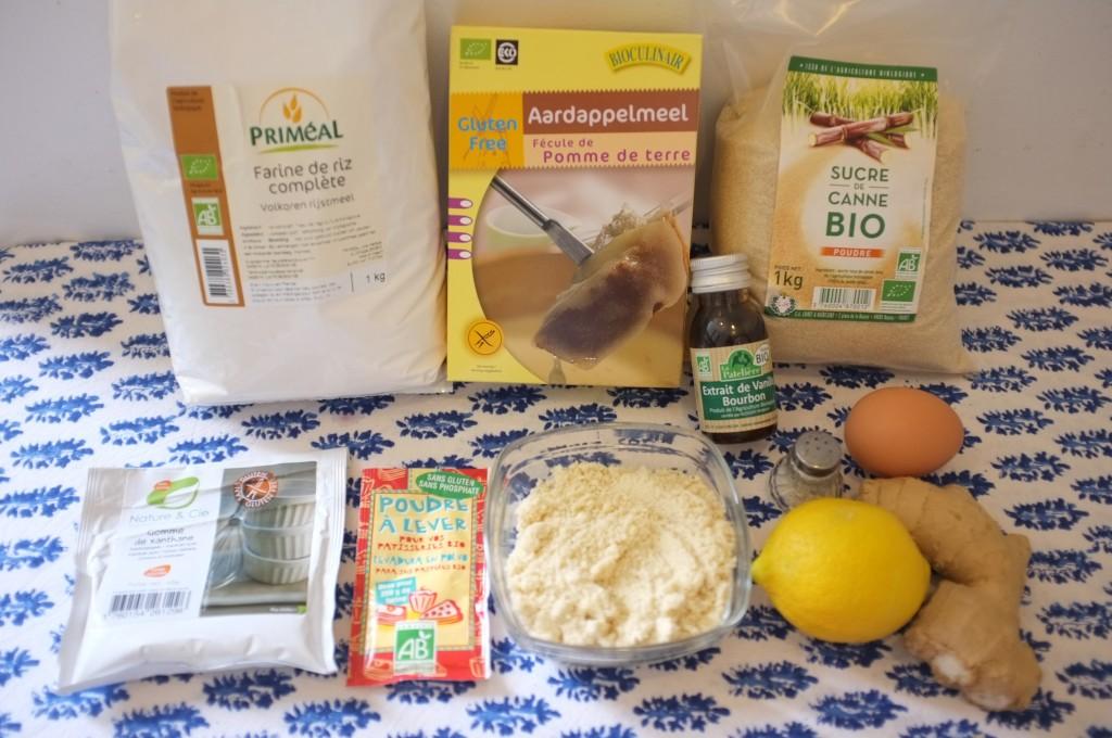 Ingrédients pour les biscuits aux citron et gingembre
