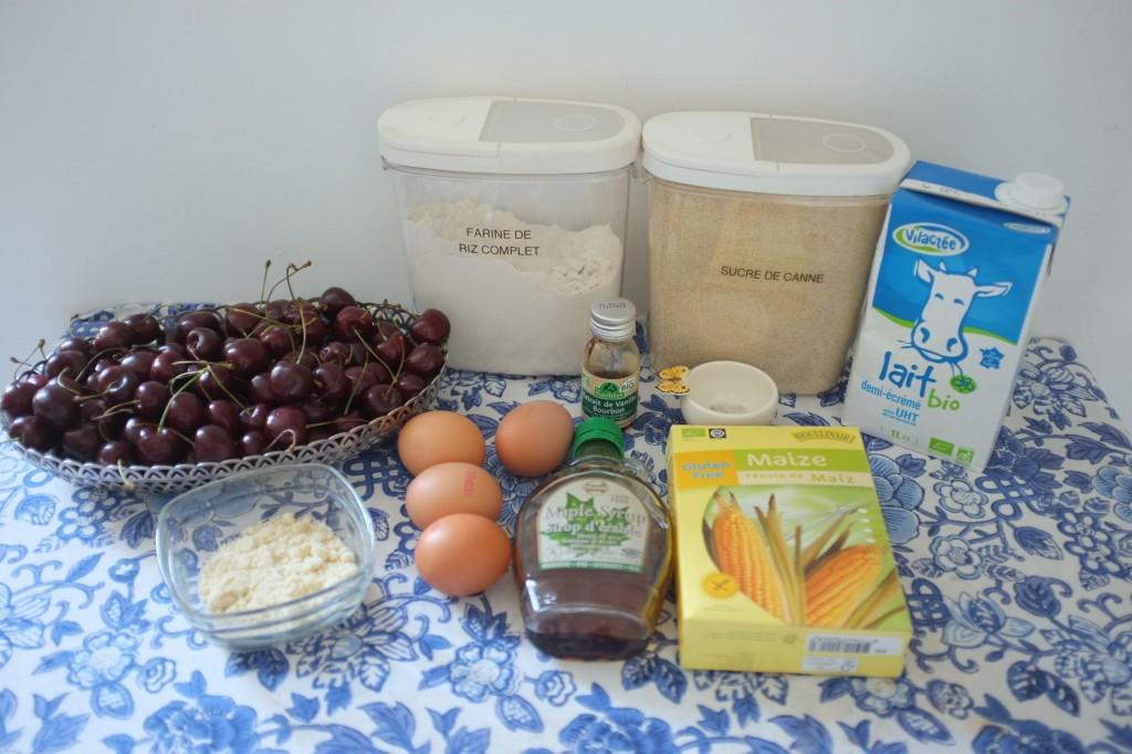 Les ingrédients pour le clafoutis sans gluten aux cerises