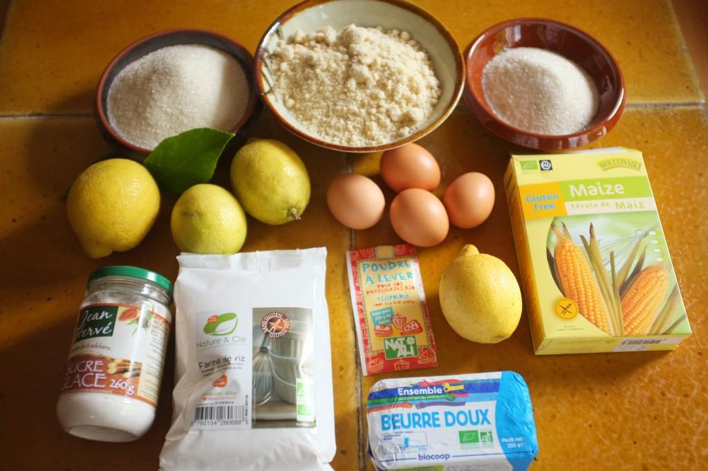Les ingrédients pour le gâteau à l'amande et citrons confits