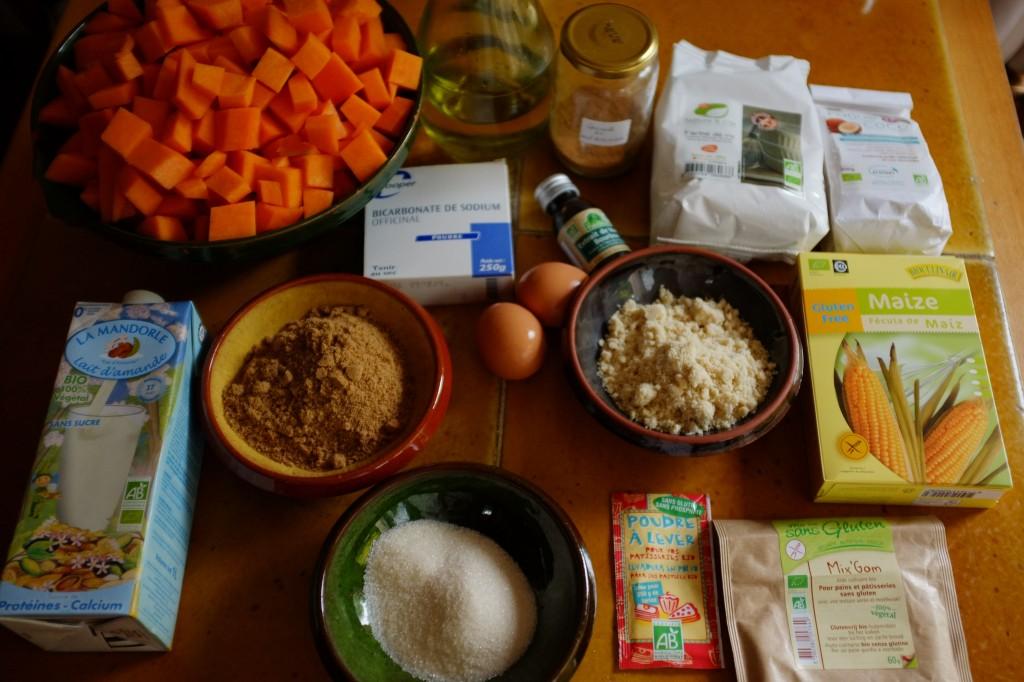 Les ingrédients pour le muffins au potiron