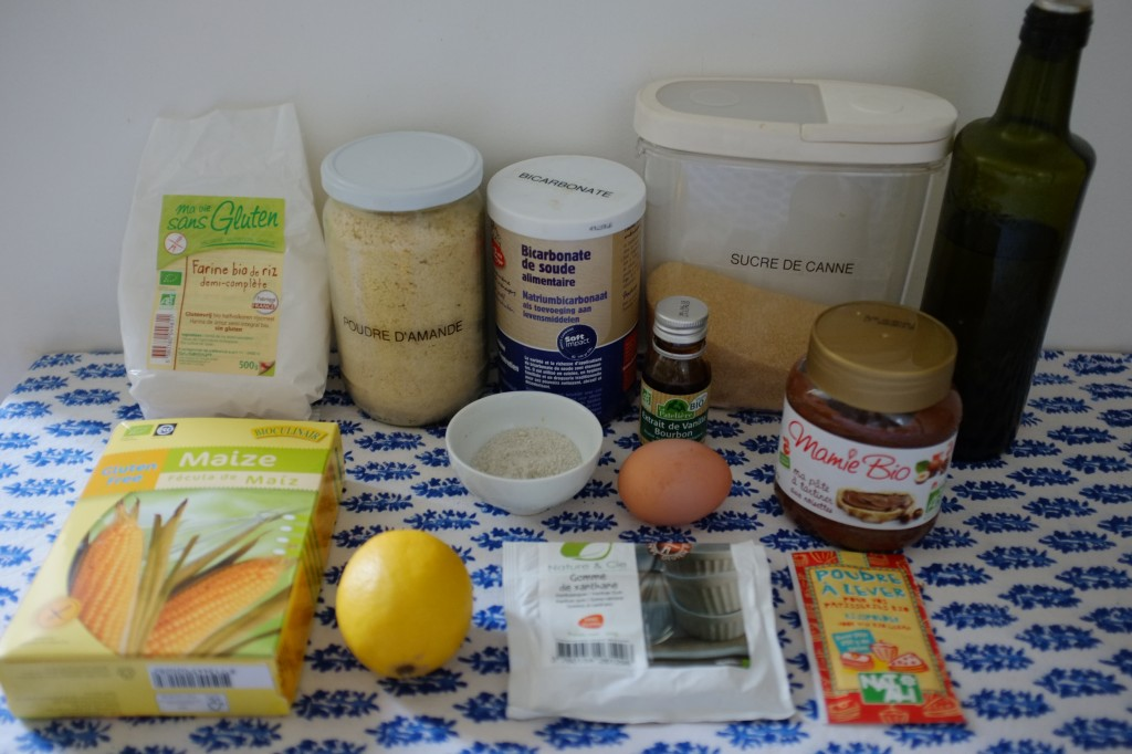 """Les ingrédients pour les muffins sans gluten à la pâte à tartiner à la """"noisette"""""""
