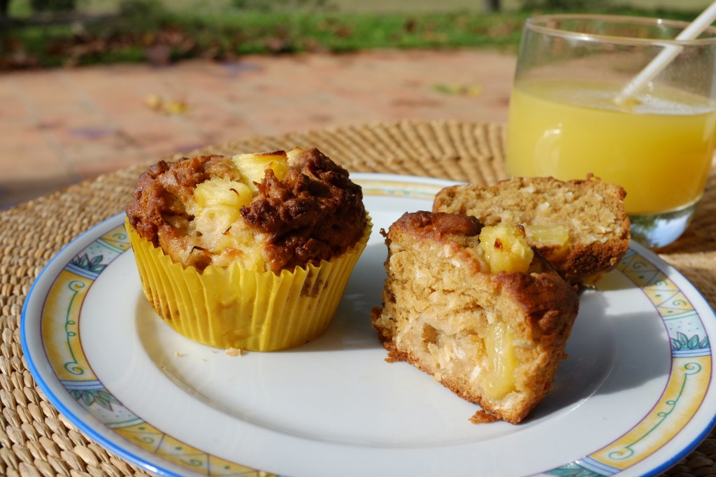 Les muffins sans gluten ananas et noix de coco