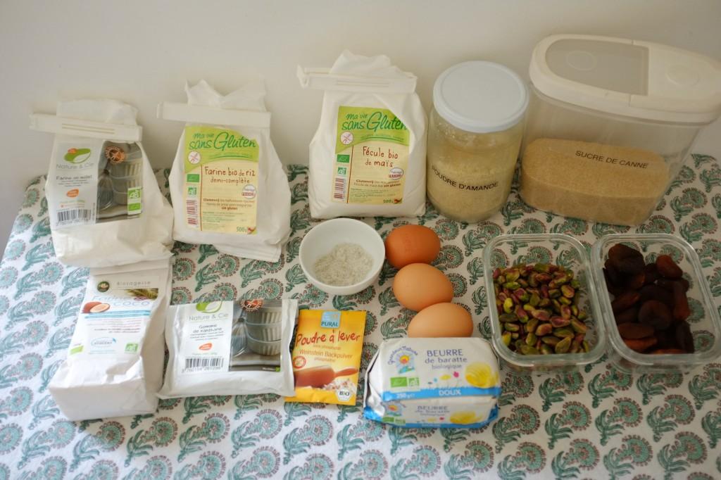 Les ingrédients sans gluten pour les Biscotti abricot-pistache