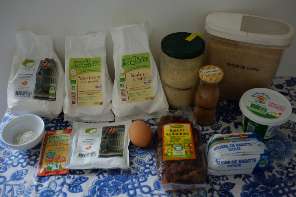 Les ingrédients pour les Scones sans gluten aux raisins secs