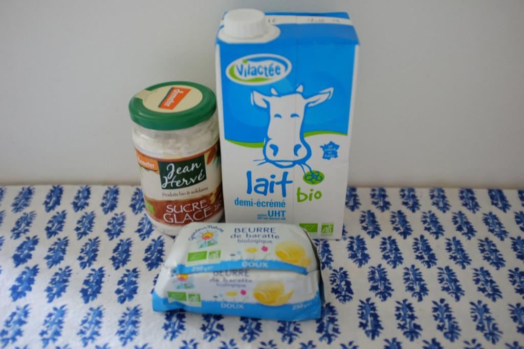 Les ingrédients pour la crème au beurre
