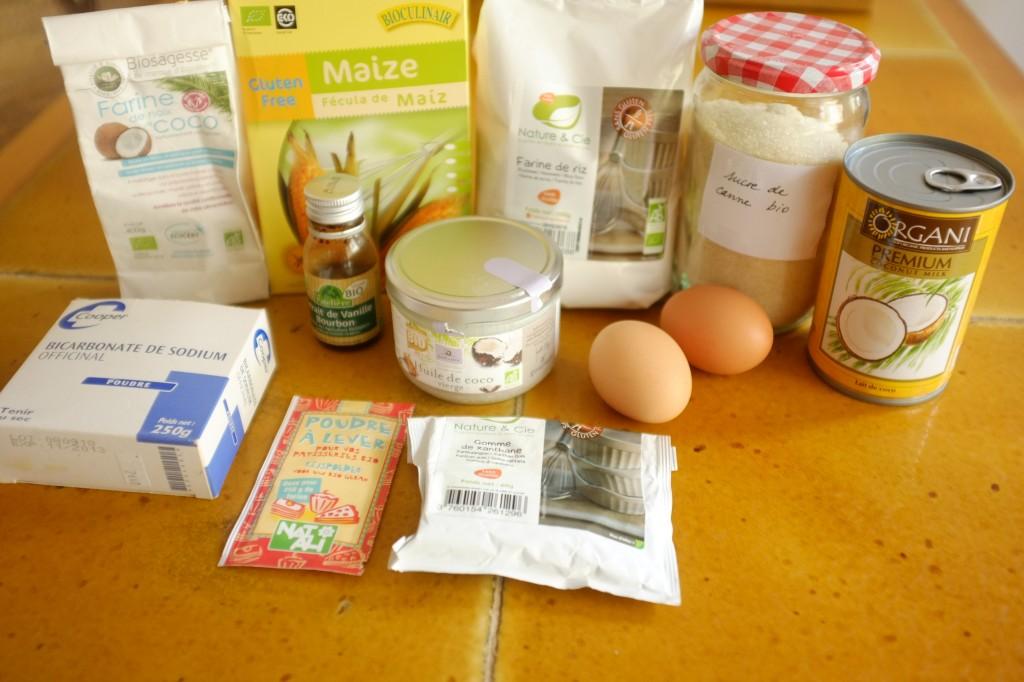 Les ingrédients sans gluten pour les cupcakes à la noix de coco pour Pâques 2014