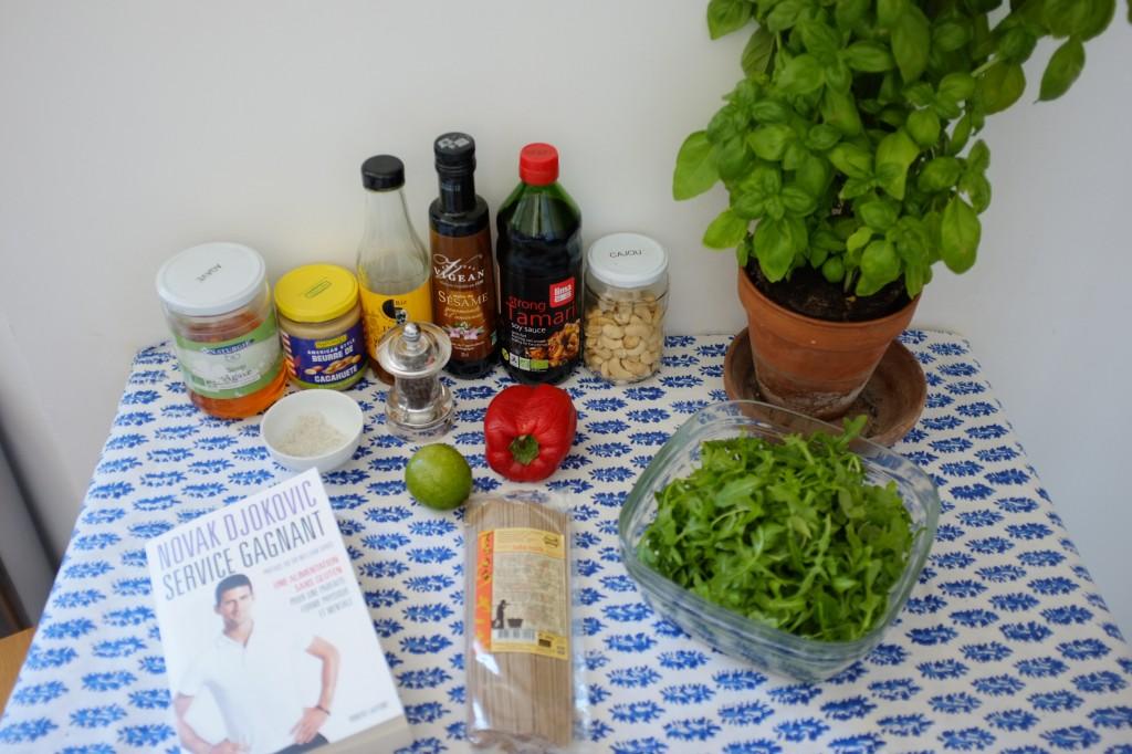Les ingrédients sans gluten pour la salade soba épicée de Novak Djokovic . je n'ais pas mis de sauce tabasco car je ne la supporte malheureusement pas...