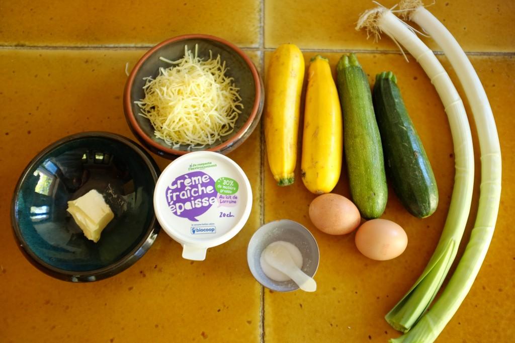 Les ingrédients sans gluten pour la tarte courgette et poireau