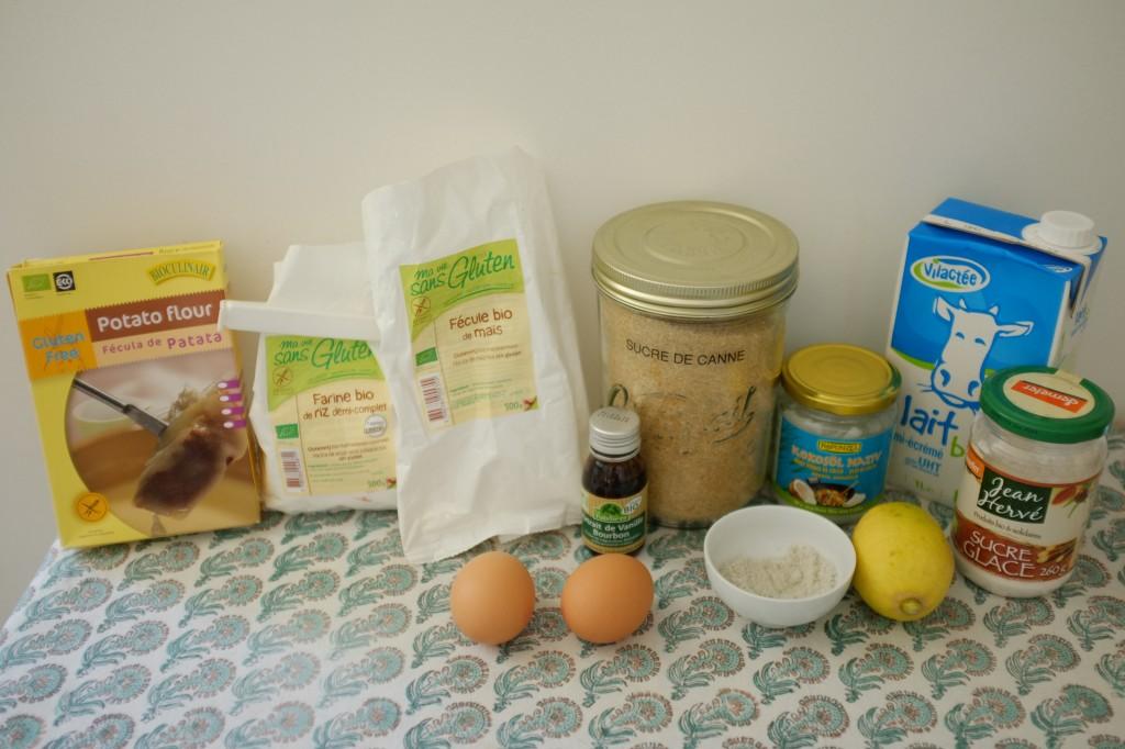 Les ingrédients sans gluten pour la crêpe au four