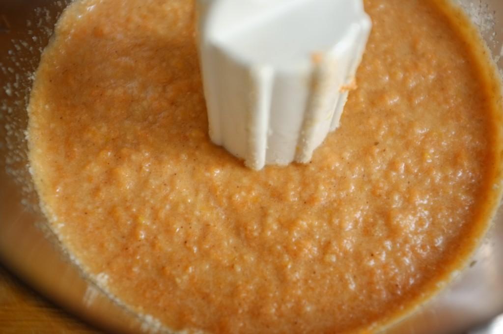 la pâte sans gluten pour le gâteau carrote et orange