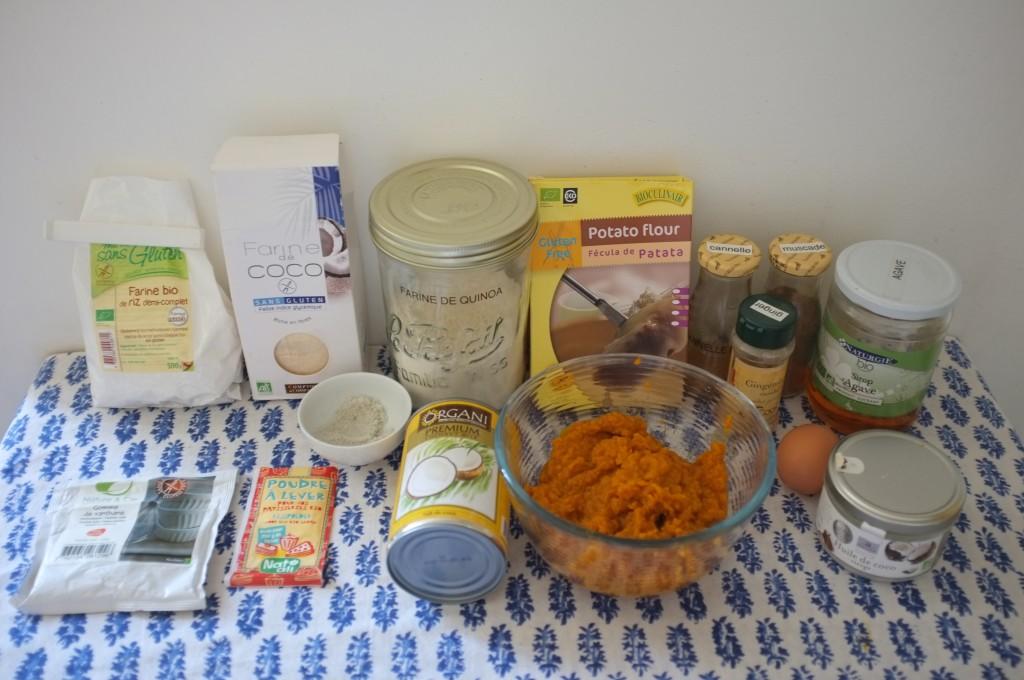 Les ingrédients sans gluten et sans lactose pour les pancake au potiron