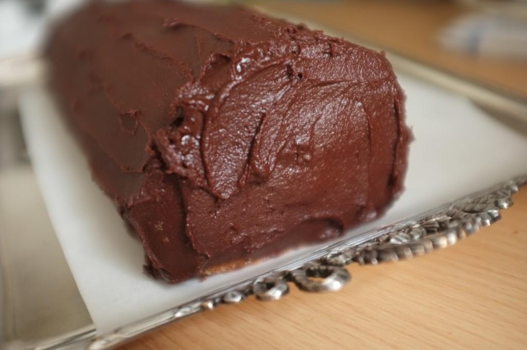 le devant de la bûche sans gluten à la crème de marron et chocolat noir