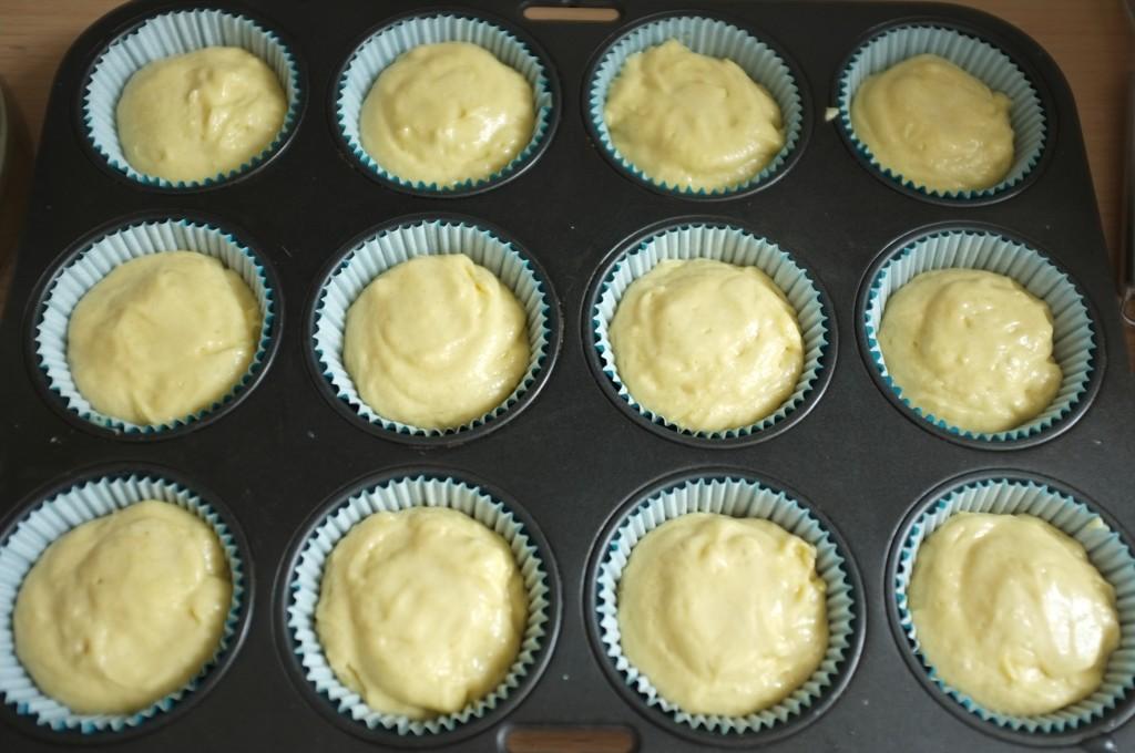 Les cupacakes sans gluten avant d'être enfournés