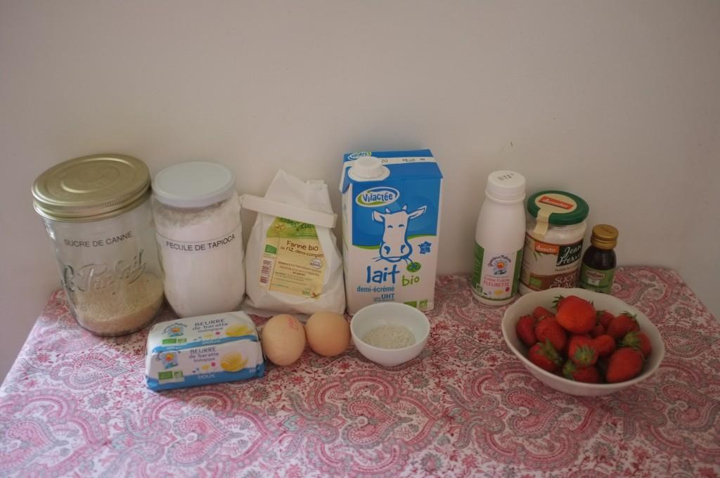 Les ingrédients sans gluten pour les mini écliars à la fraises