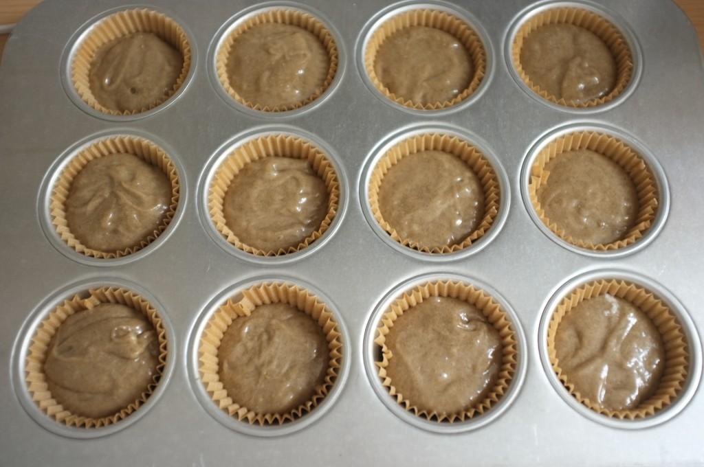 les muffins sans gluten au sarrasin avant d'e^tre enfournés