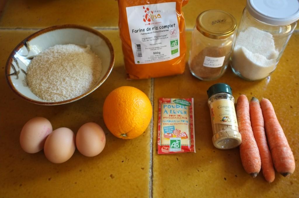 Les ingrédients sans gluten pour les muffins orange carotte pour Halloween 2015
