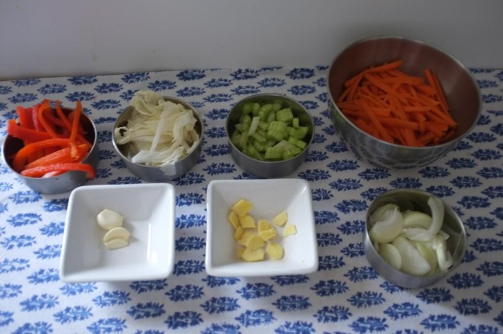Le cuisine au work est toujours très rapide, il est indispensable d'avoir tous les ingrédients prêt avant de commencer.