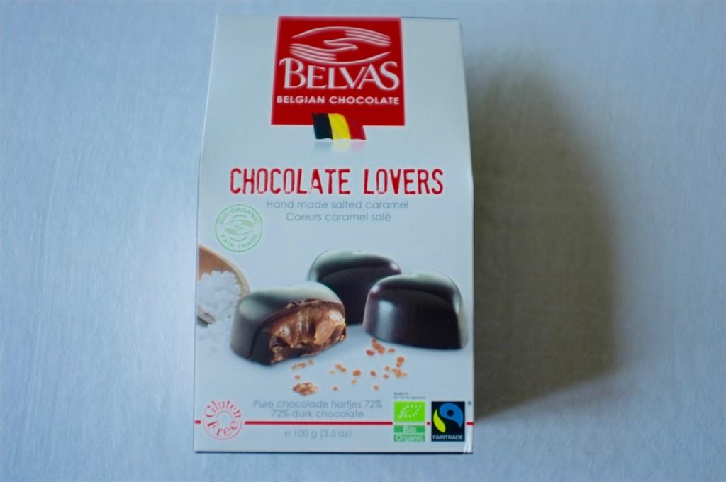 Les chocolat Belvas belge sont sans gluten. J'ai choisi des petits coeurs fait main au caramel salée...