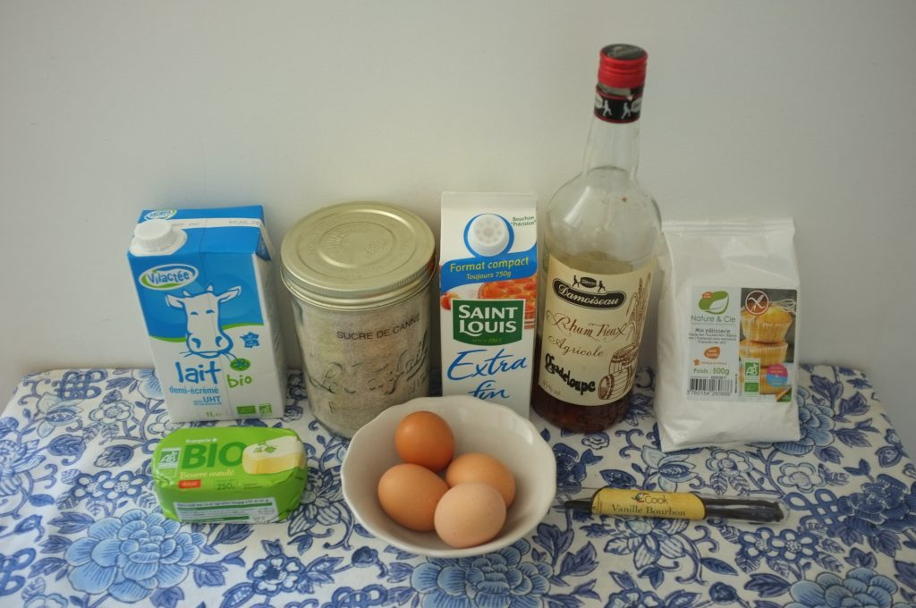 Les ingrédients sans gluten pour cuisiner des cannelés de Bordeaux.