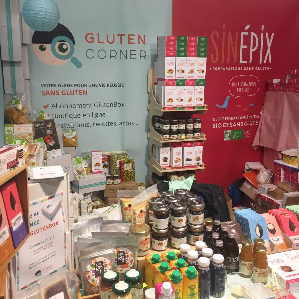 Le Stand de Gluten Corner,  avec une selections de produits sans gluten