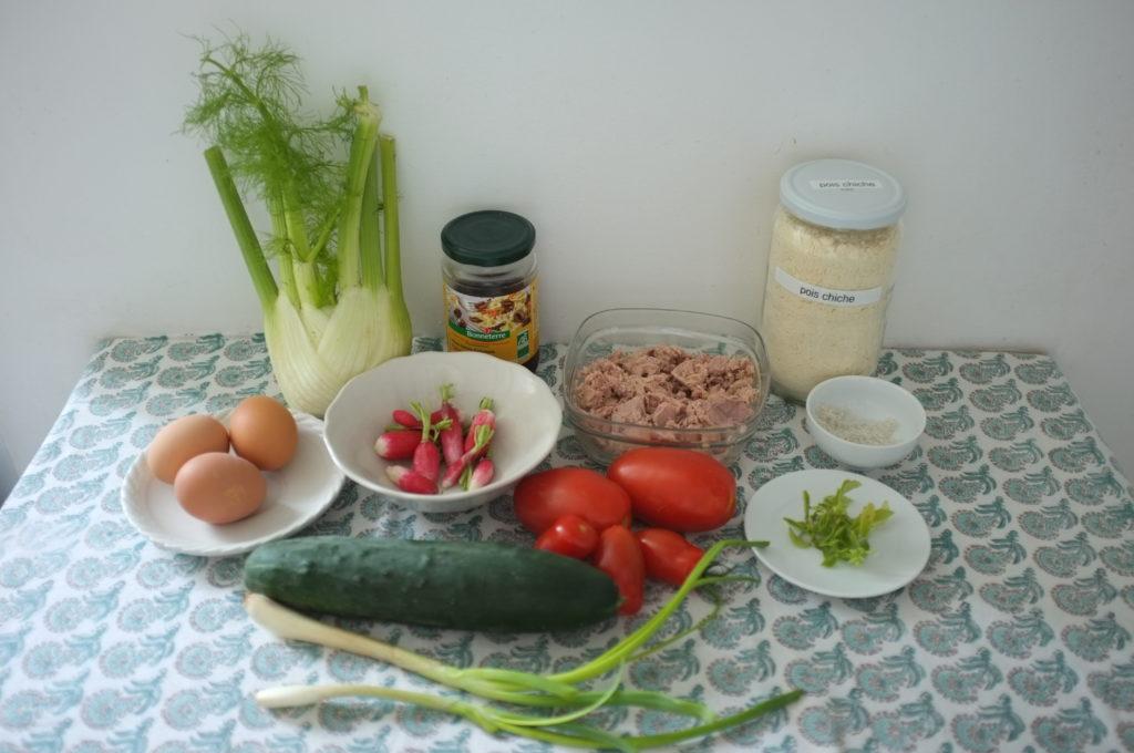 Les ingrédients pour réaliser la Socca: farine de pois chiche, fenouil, olives noires, radis, oeufs durs, concombre, tomates, cebette, basilic, thon, présentés sur une nappe verte.